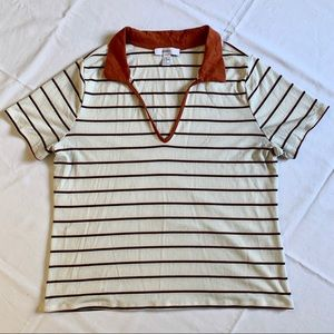 Women Forever 21 V Neck Polo Shirt Striped Cream